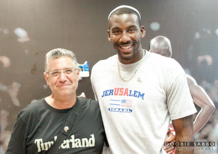 A professional basketball player for the New York Knicks, Amar'e toured Israel with tour guide Doobie Sabbo.
