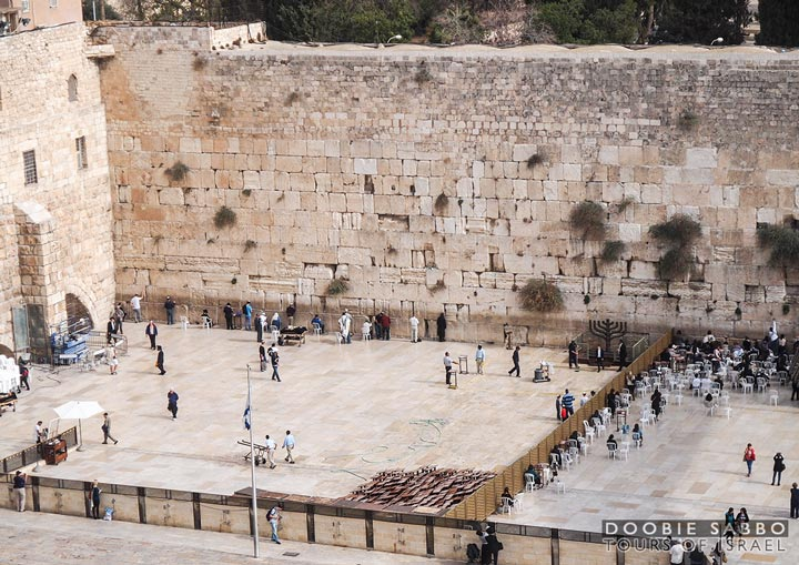 The Western Wall and the Temple Mount.